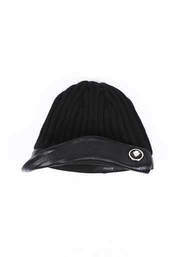 Wool Knit Leather Hat