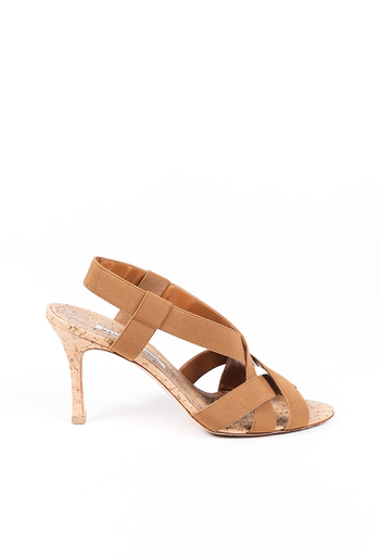 Strappy Elastic Cork Sandals