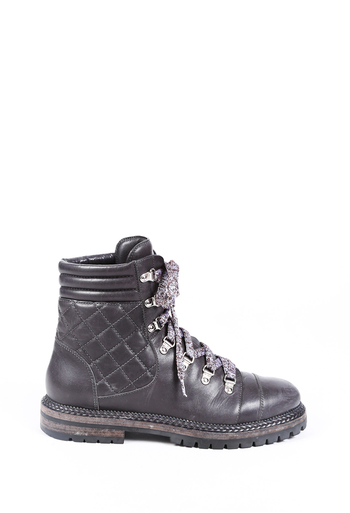 Quilted Leather Combat Boots