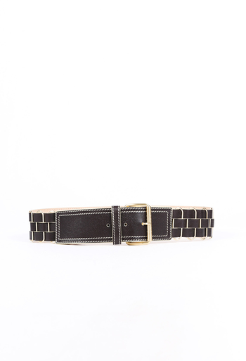 Woven Leather Metal Belt
