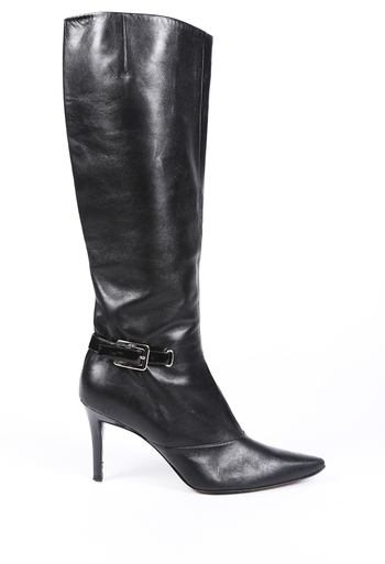 Leather Pointed Knee High Boots