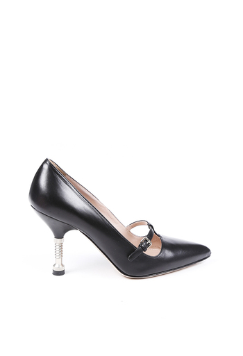 Screw Leather Pointed Pumps