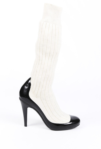 Patent Leather Knit Sock Boots