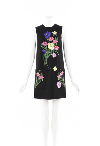 Floral Embroidered Mini Shift Dress