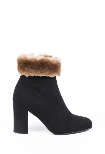 Fur Trimmed Square Toe Ankle Boots