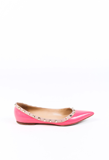 Rockstud Patent Leather Pointed Flats