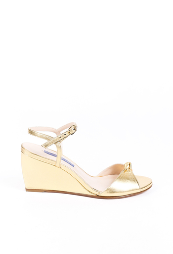 Gloria Gold Leather Wedge Sandals