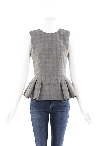 Checked Wool Pleated Peplum Top