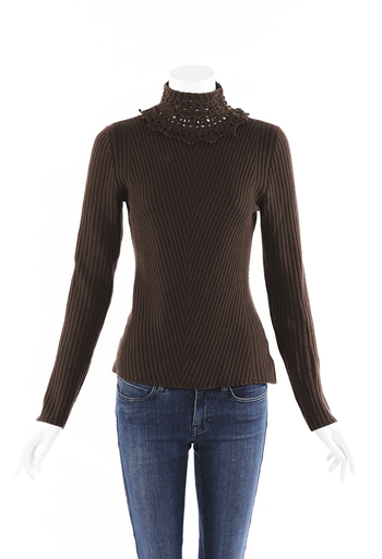 Cashmere Knit Lace Turtleneck Sweater
