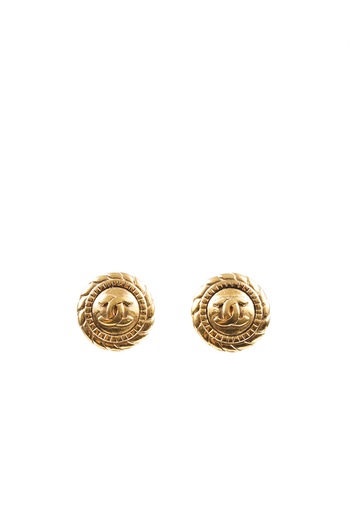 Vintage Gold CC CLip On Earrings