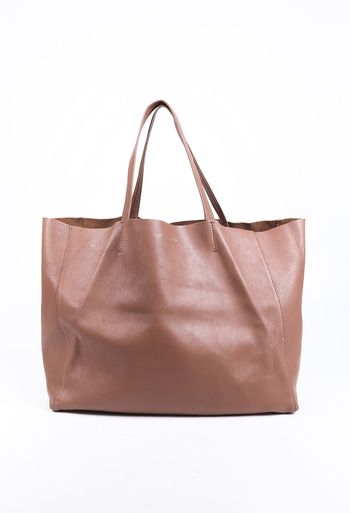 Vertical Cabas Leather Tote Bag