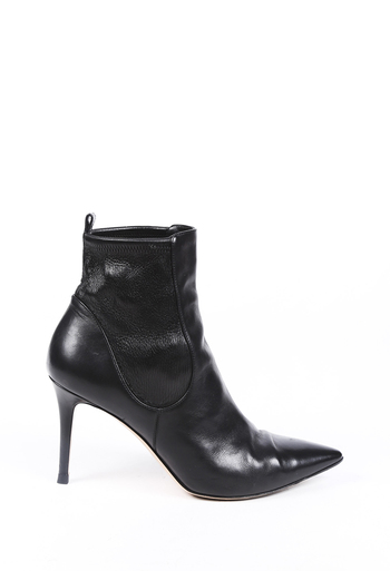 Leather Pointed Heeled Ankle Boots