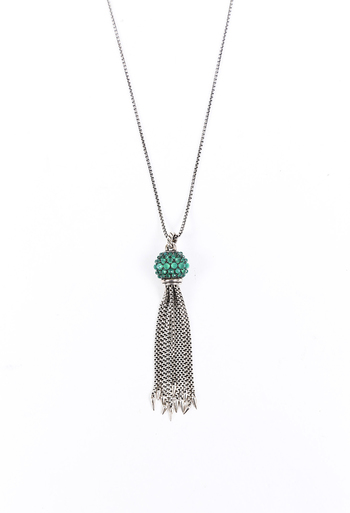 Osetra Chalcedony Tassel Necklace