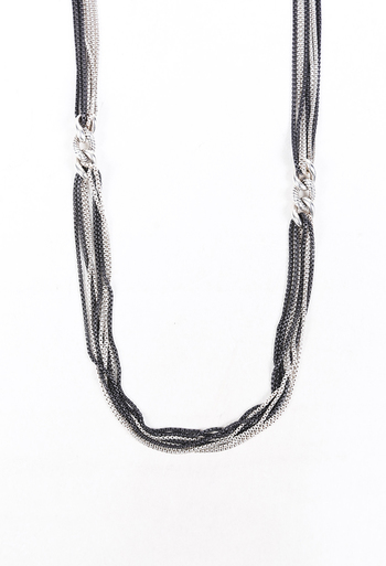 8 Row Curb Link Sterling Silver Necklace